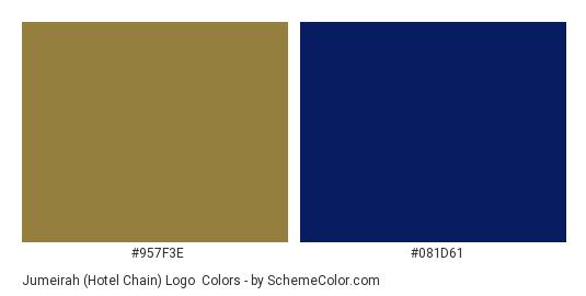 Jumeirah (Hotel Chain) Logo - Color scheme palette thumbnail - #957f3e #081d61