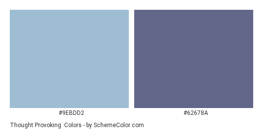 Thought Provoking - Color scheme palette thumbnail - #9ebdd2 #62678a