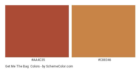 Get Me the Bag - Color scheme palette thumbnail - #AA4C35 #C88346