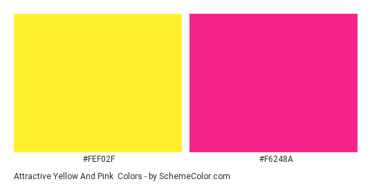 Attractive Yellow and Pink - Color scheme palette thumbnail - #FEF02F #F6248A