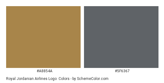 Royal Jordanian Airlines Logo - Color scheme palette thumbnail - #a8854a #5f6367