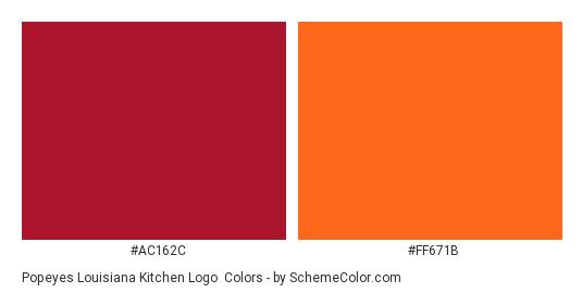 Popeyes Louisiana Kitchen Logo - Color scheme palette thumbnail - #ac162c #ff671b