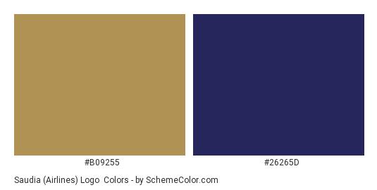 Saudia (Airlines) Logo - Color scheme palette thumbnail - #b09255 #26265d