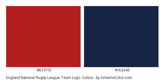 England National Rugby League Team Logo - Color scheme palette thumbnail - #b31f1d #162545