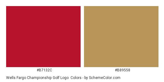 Wells Fargo Championship Golf Logo - Color scheme palette thumbnail - #b7132c #b89558