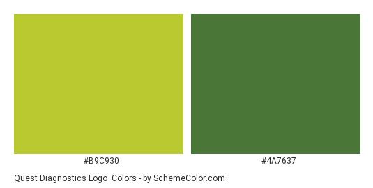 Quest Diagnostics Logo - Color scheme palette thumbnail - #b9c930 #4a7637