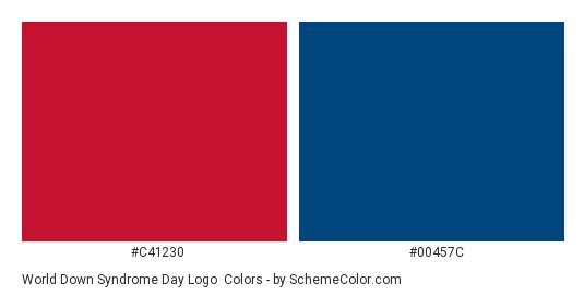 World Down Syndrome Day Logo - Color scheme palette thumbnail - #c41230 #00457c