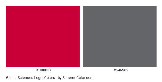 Gilead Sciences Logo - Color scheme palette thumbnail - #c80037 #646569