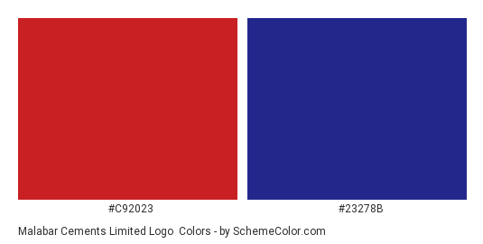 Malabar Cements Limited Logo - Color scheme palette thumbnail - #c92023 #23278b