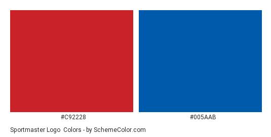 Sportmaster Logo - Color scheme palette thumbnail - #c92228 #005aab