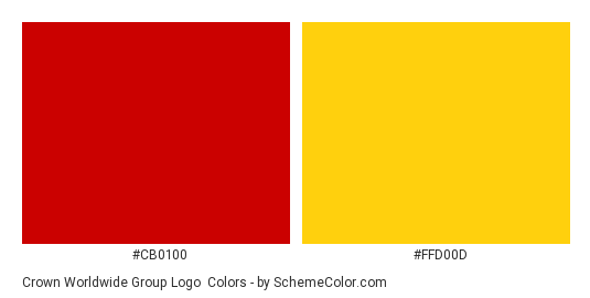 Crown Worldwide Group Logo - Color scheme palette thumbnail - #cb0100 #ffd00d