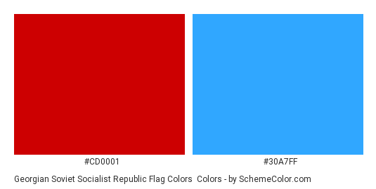 Georgian Soviet Socialist Republic Flag Colors - Color scheme palette thumbnail - #cd0001 #30a7ff