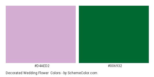 Decorated Wedding Flower - Color scheme palette thumbnail - #d4aed2 #006932