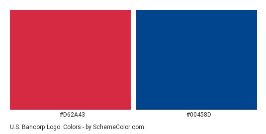 U.S. Bancorp Logo - Color scheme palette thumbnail - #d62a43 #00458d