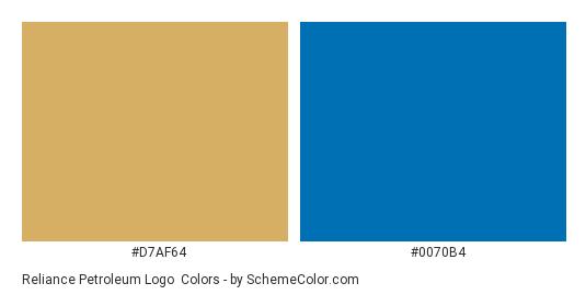 Reliance Petroleum Logo - Color scheme palette thumbnail - #d7af64 #0070b4