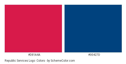 Republic Services Logo - Color scheme palette thumbnail - #d81a4a #00427d