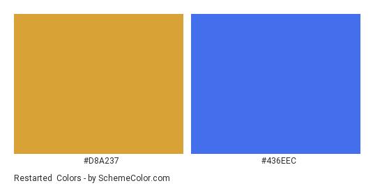 Restarted - Color scheme palette thumbnail - #d8a237 #436eec