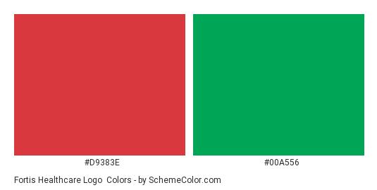 Fortis Healthcare Logo - Color scheme palette thumbnail - #d9383e #00a556