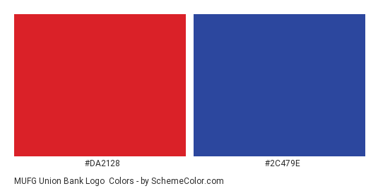 MUFG Union Bank Logo - Color scheme palette thumbnail - #da2128 #2c479e