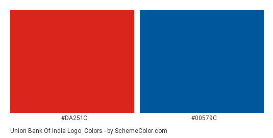 Union Bank of India Logo - Color scheme palette thumbnail - #da251c #00579c