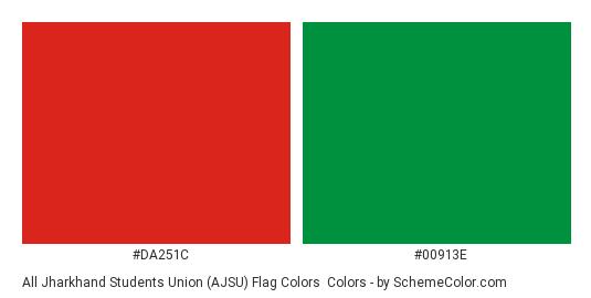All Jharkhand Students Union (AJSU) Flag Colors - Color scheme palette thumbnail - #da251c #00913e