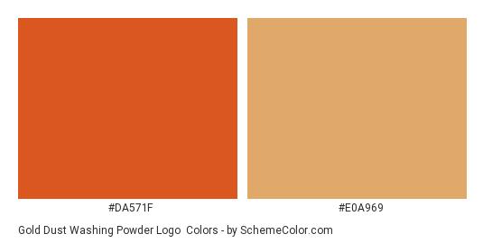 Gold Dust Washing Powder Logo - Color scheme palette thumbnail - #da571f #e0a969
