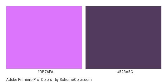 Adobe Primiere Pro - Color scheme palette thumbnail - #db76fa #523a5c