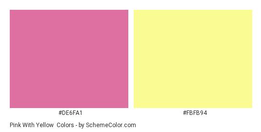 Pink With Yellow - Color scheme palette thumbnail - #de6fa1 #fbfb94