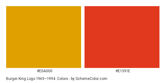 Burger King Logo 1969–1994 - Color scheme palette thumbnail - #e0a000 #e1391e