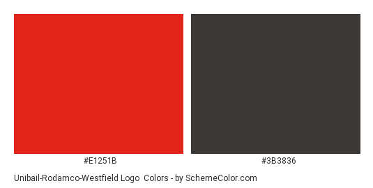 Unibail-Rodamco-Westfield Logo - Color scheme palette thumbnail - #e1251b #3b3836