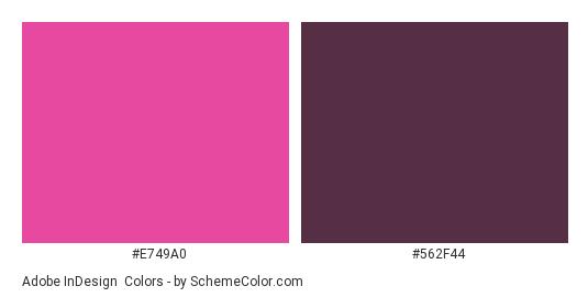 Adobe InDesign - Color scheme palette thumbnail - #e749a0 #562f44