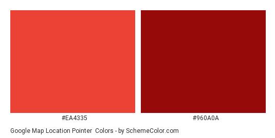 Google Map Location Pointer - Color scheme palette thumbnail - #ea4335 #960a0a