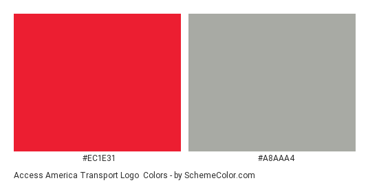 Access America Transport Logo - Color scheme palette thumbnail - #ec1e31 #a8aaa4