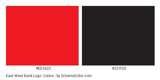 East West Bank Logo - Color scheme palette thumbnail - #ed1a22 #231f20