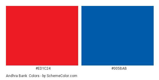 Andhra Bank - Color scheme palette thumbnail - #ed1c24 #005bab
