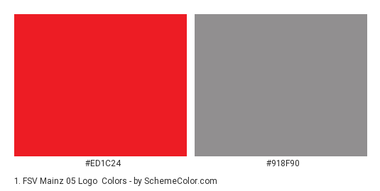 1. FSV Mainz 05 Logo - Color scheme palette thumbnail - #ed1c24 #918f90