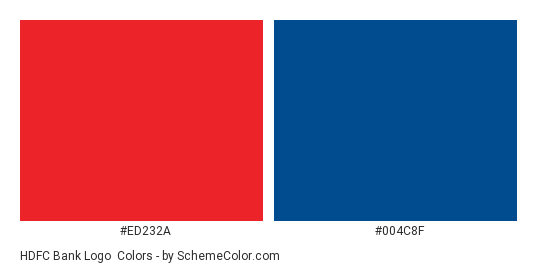 HDFC Bank Logo - Color scheme palette thumbnail - #ed232a #004c8f