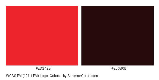 WCBS-FM (101.1 FM) Logo - Color scheme palette thumbnail - #ed242b #250b0b