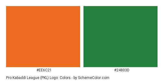 Pro Kabaddi league (PKL) Logo - Color scheme palette thumbnail - #ee6c21 #24803d