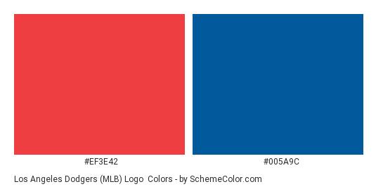 Los Angeles Dodgers (MLB) Logo - Color scheme palette thumbnail - #ef3e42 #005a9c