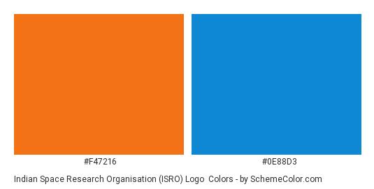 Indian Space Research Organisation (ISRO) Logo - Color scheme palette thumbnail - #f47216 #0e88d3