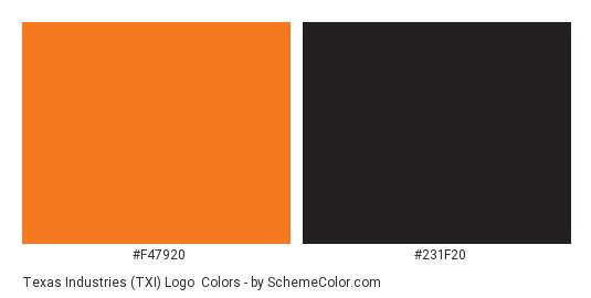 Texas Industries (TXI) Logo - Color scheme palette thumbnail - #f47920 #231f20