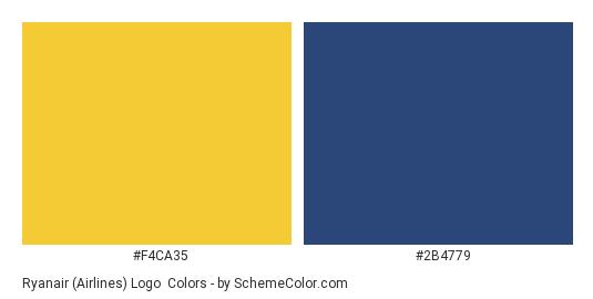 Ryanair (Airlines) Logo - Color scheme palette thumbnail - #f4ca35 #2b4779