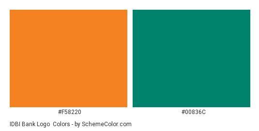 IDBI Bank Logo - Color scheme palette thumbnail - #f58220 #00836c