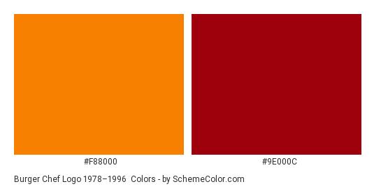 Burger Chef Logo 1978–1996 - Color scheme palette thumbnail - #f88000 #9e000c