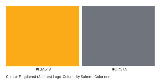 Condor Flugdienst (Airlines) Logo - Color scheme palette thumbnail - #fbab18 #6f757a