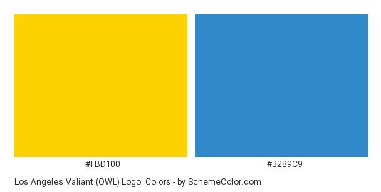 Los Angeles Valiant (OWL) Logo - Color scheme palette thumbnail - #fbd100 #3289c9