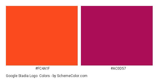 Google Stadia Logo - Color scheme palette thumbnail - #fc4a1f #ac0d57