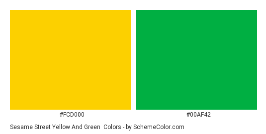 Sesame Street Yellow and Green - Color scheme palette thumbnail - #fcd000 #00af42