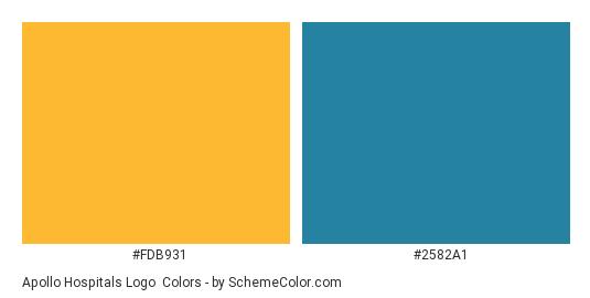 Apollo Hospitals Logo - Color scheme palette thumbnail - #fdb931 #2582a1